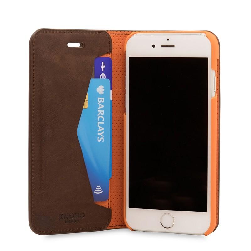Knomo Premium Leather Folio iPhone 7 Brown 04