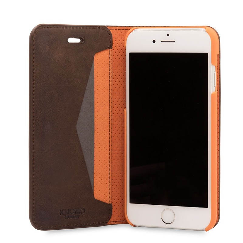 Knomo Premium Leather Folio iPhone 7 Brown 05
