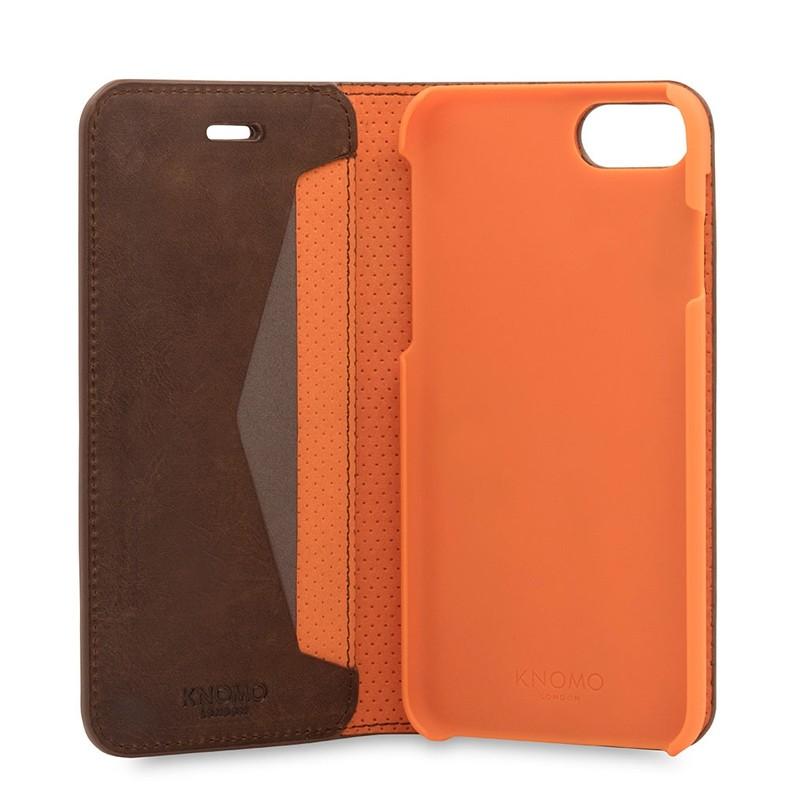 Knomo Premium Leather Folio iPhone 7 Brown 06