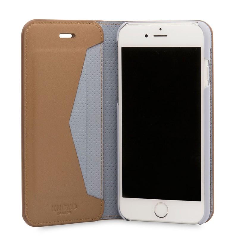 Knomo Premium Leather Folio iPhone 7 Caramel 04