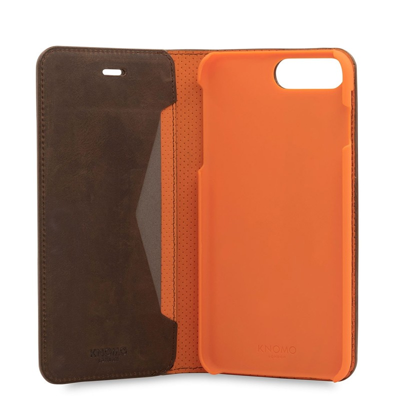 Knomo Premium Leather Folio iPhone 7 Plus Brown 05