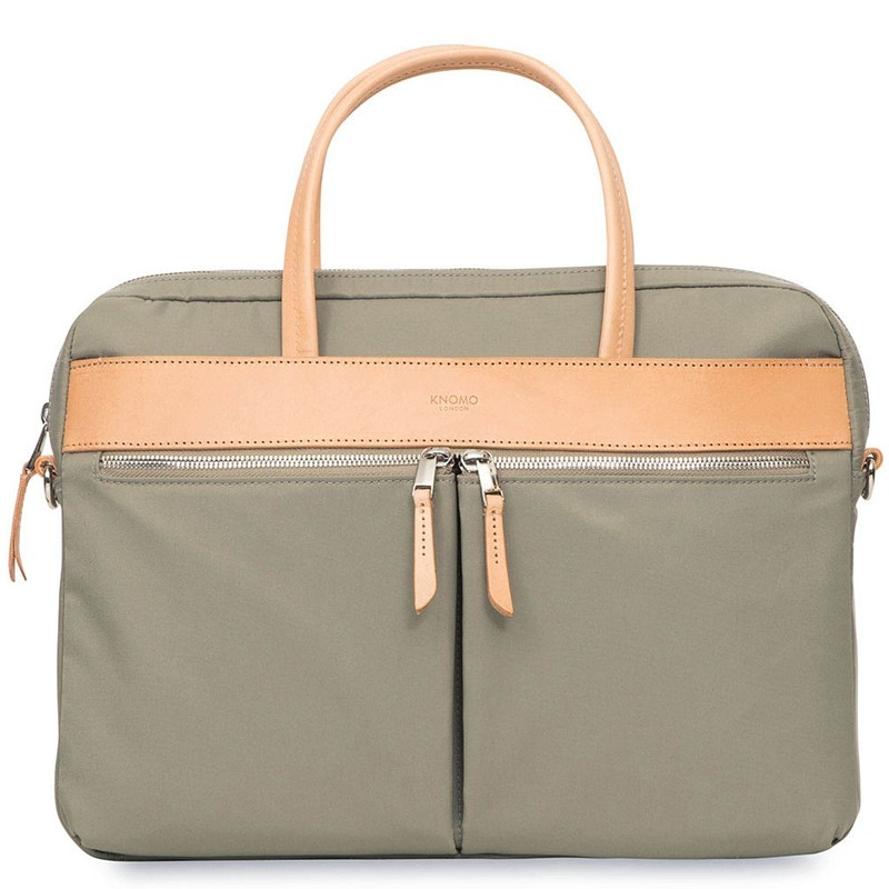 Knomo - Hanover 14 inch Slim Laptop Briefcase Olive 02