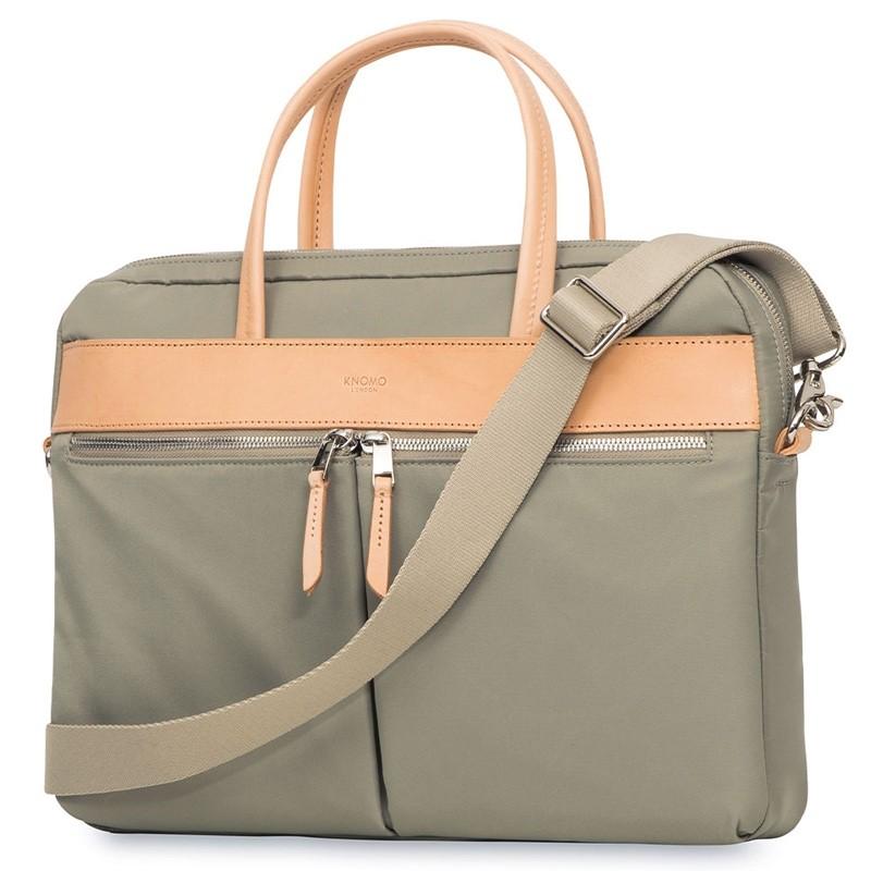 Knomo - Hanover 14 inch Slim Laptop Briefcase Olive 01