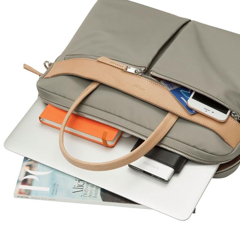 Knomo - Hanover 14 inch Slim Laptop Briefcase Olive 03