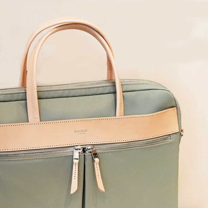 Knomo - Hanover 14 inch Slim Laptop Briefcase Olive 09