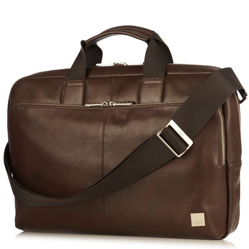 Knomo - Newbury Lederen 15 inch Laptoptas Brown 01