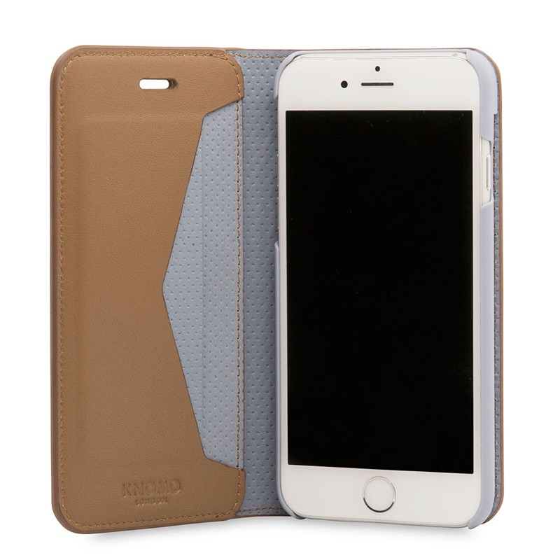 Knomo Premium Leather Folio iPhone 7 Caramel 04