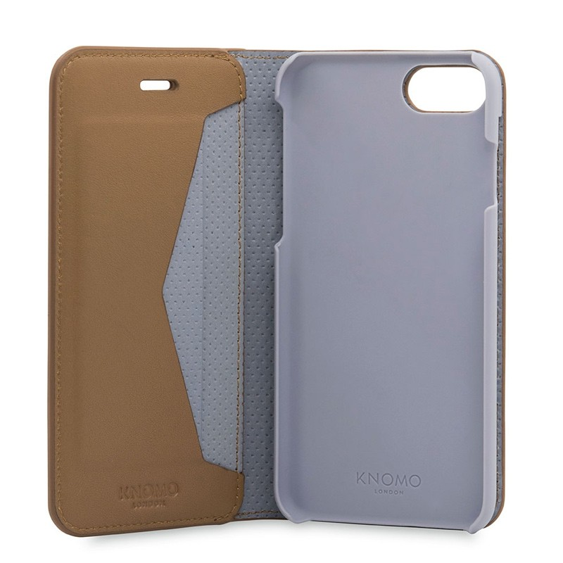Knomo Premium Leather Folio iPhone 7 Caramel 05