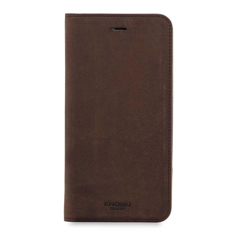 Knomo Premium Leather Folio iPhone 7 Plus Brown 01